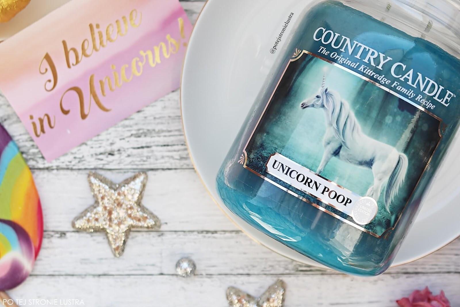 etykieta świecy country candle unicorn poop z białym jednorożcem