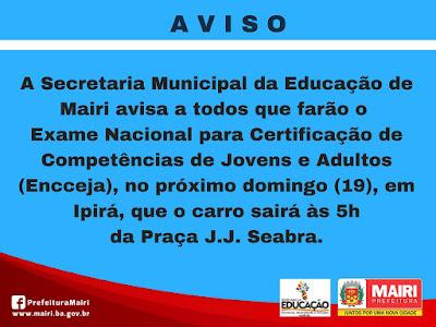 Aviso da Secretaria da Educação de Mairi
