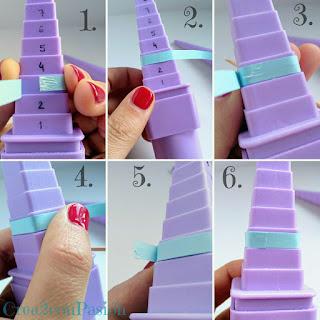 Cómo-colocar-las-cintas-para-quilling-bisutería-pendientes-y-anillo-de-formas-geométricas-rosa-azul-y-verde-Crea2-con-Pasión