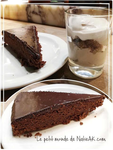Mousse de marron et gâteau chocolat maison