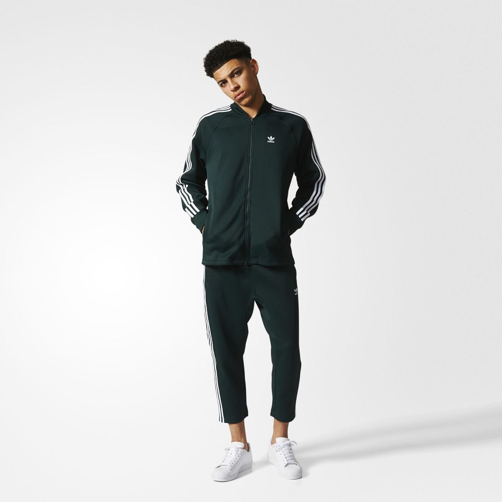 Look masculino com jaqueta preta adidas