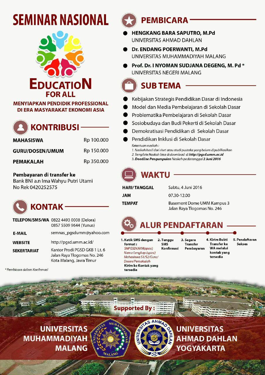 Seminar Pendidikan nasional Universitas Muhammadiyah Malang UMM 2016