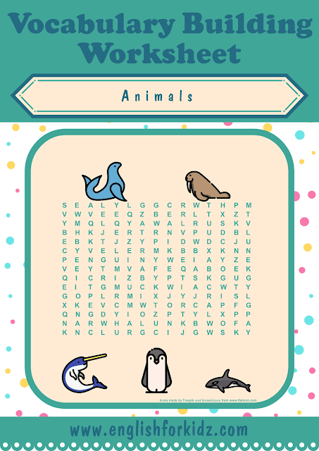 Polar animals word search worksheet - printable ESL materials