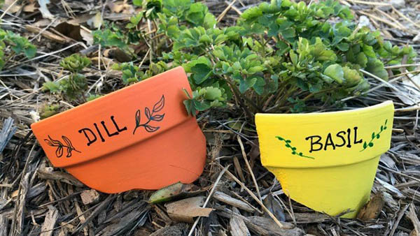 diy plant markers using clay pots from ps i love you crafts