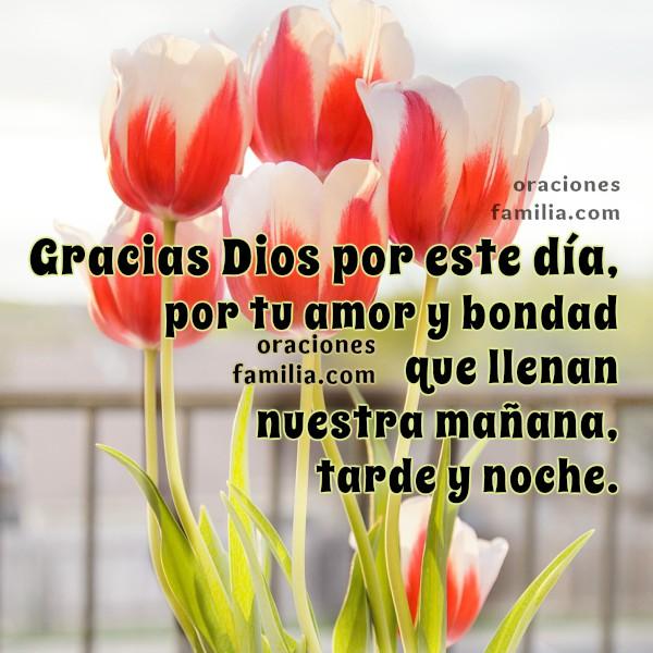 Oración de Gracias de la Mañana. imágenes con oración para este día, oraciones familia, frases con oración cristiana por Mery Bracho, Tarjetas facebook de oraciones.