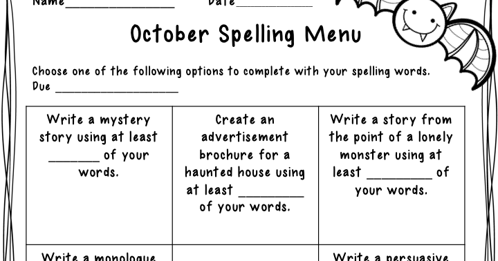 The Idea Backpack: October Spelling and Vocabulary Menu