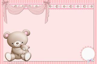 Para hacer invitaciones, tarjetas, marcos de fotos o etiquetas, para imprimir gratis de Osita con Bebé.