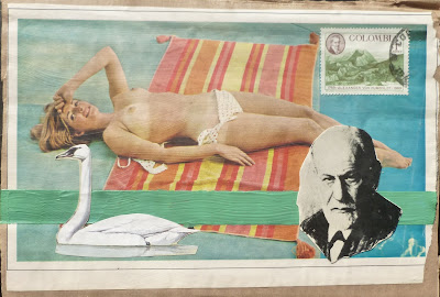 postage stamp vintage nude Freud collage