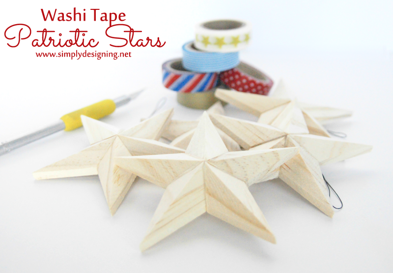 Washi Tape Patriotic Stars ~ such a simple 4th of July craft ~ pinning for later! | #4thofJuly #memorialday #patriotic #redwhiteblue #washitape