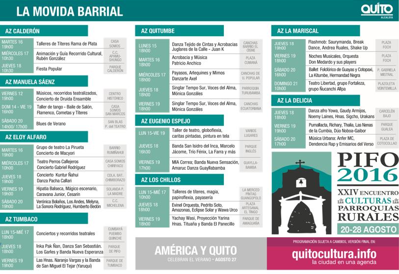 Agenda completa de Actividades en Quito en el mes de Agosto