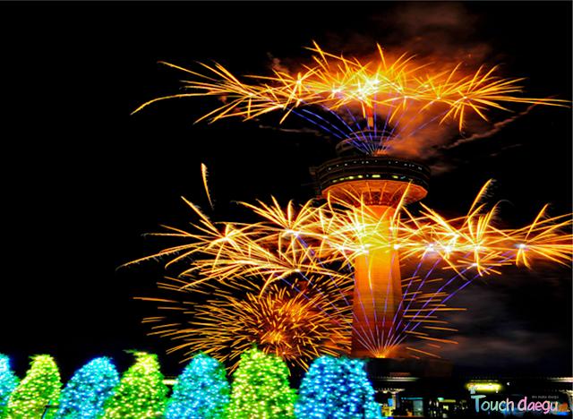 Beautiful fireworks on the night sky