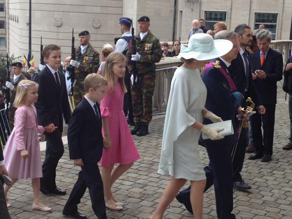 King Philippe of Belgium and Queen Mathilde of Belgium their children Princess Eleonore, Prince Emmanuel, Prince Gabriel and Crown Princess Elisabeth
