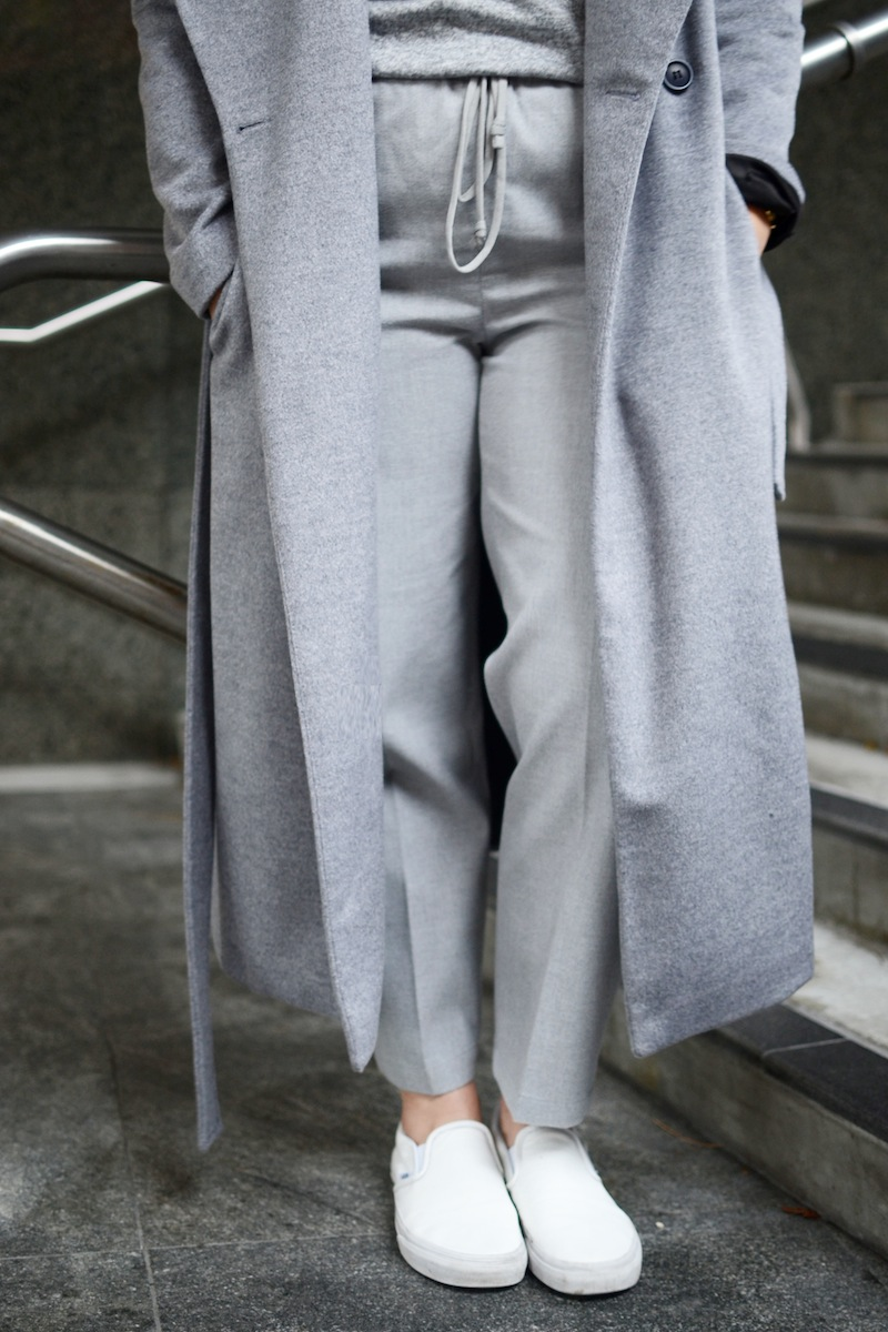 Le Chateau mock neck sweater and shawl collar wrap coat covet and acquire Babaton Jimmy pant aritzia