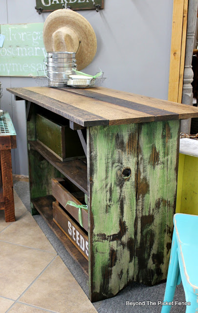 farmhouse work table made from reclaimed wood