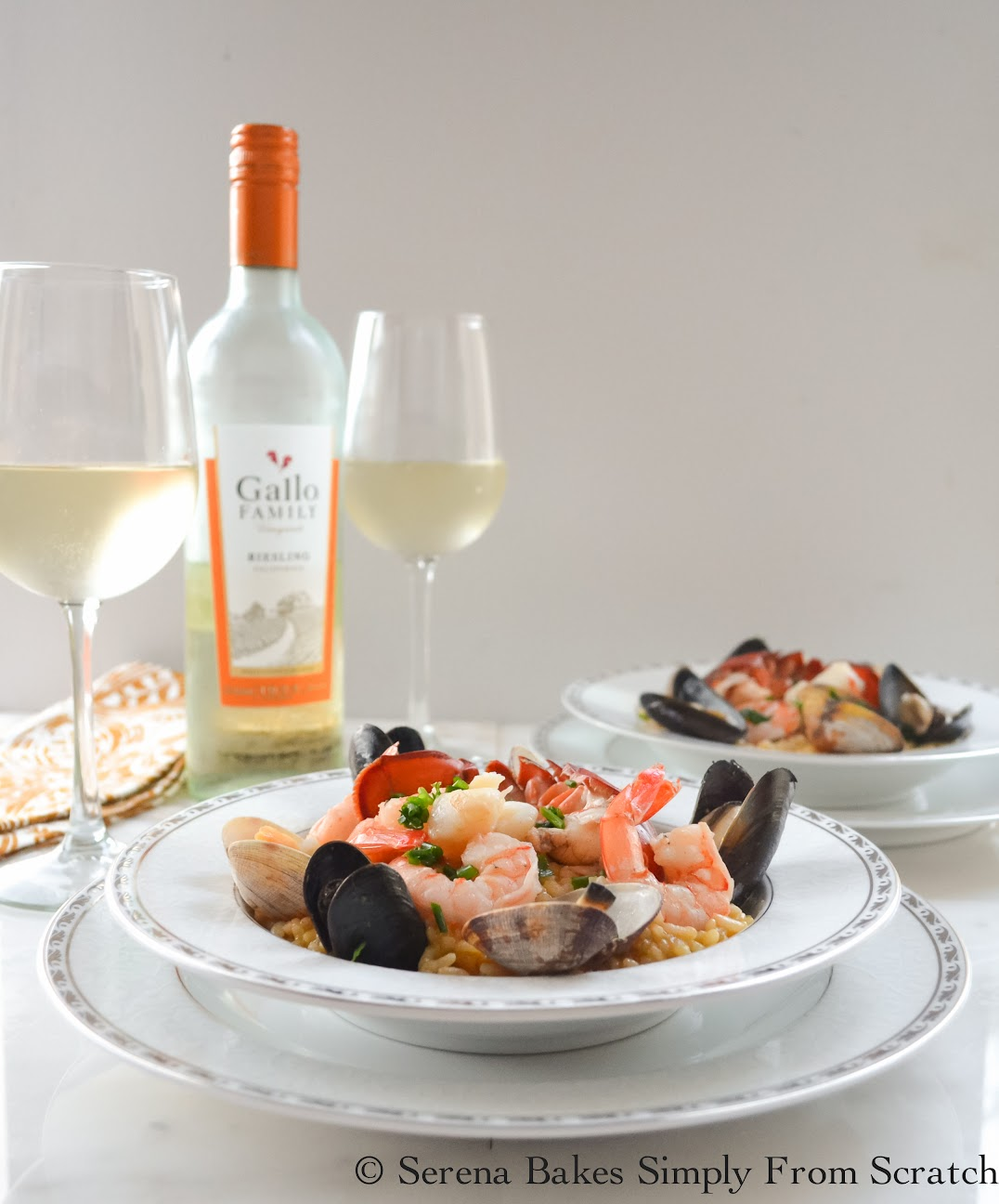 Seafood Risottos pairs beautifully with a glass of Gallo Family Vineyards Riesling.