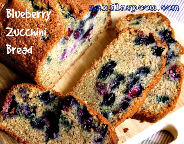 With both blueberries and zucchinis added, this summer bread comes out so moist and so deliciously good!  Perfect treat for the whole family!
