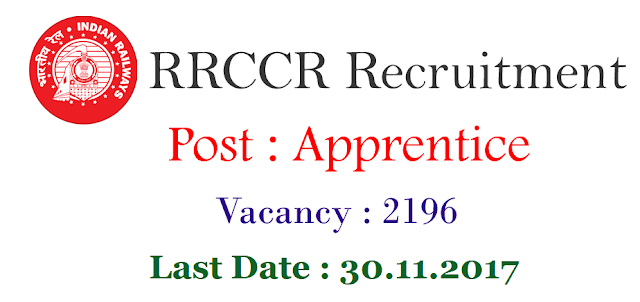 RRCCR Mumbai recruitment 2017-2018