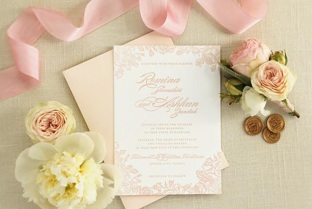 blush pink letterpress wedding invitations