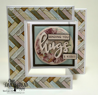 Our Daily Bread Designs Stamp/Die Duos: Hugs, Custom Dies: Tri-Fold Card with Layers, Circles, Pierced Circles, Squares, Pierced Squares, Romantic Roses