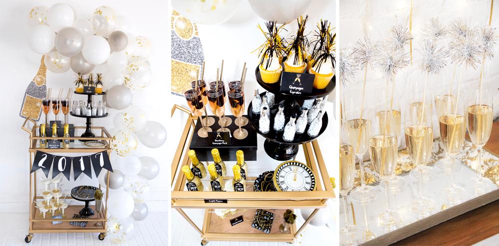 como decorar brindis con carro auxiliar para cena de nochevieja fin de año