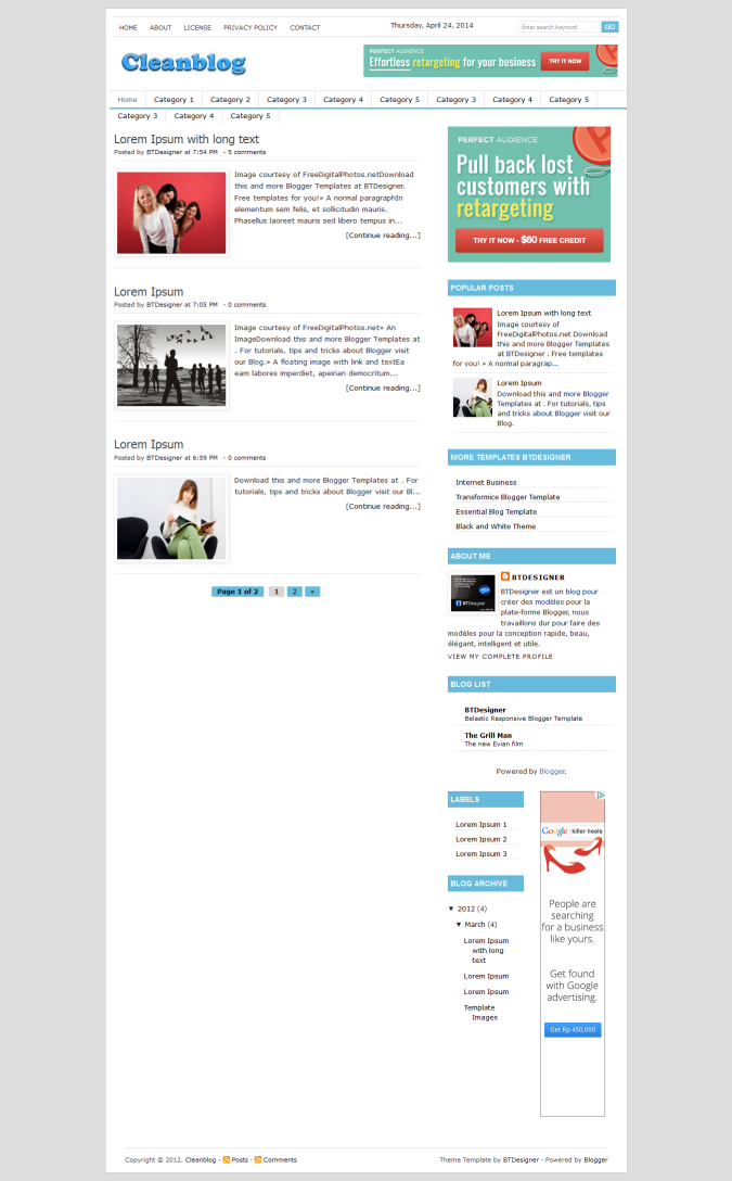 Cleanblog Theme Blogger Template