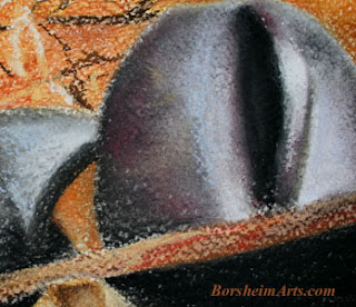 Detail of still Life - Metal Tuscan kettle pastel painting framed