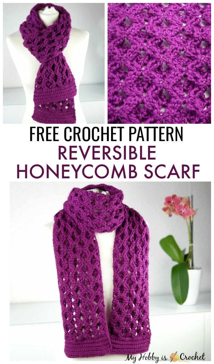 Reversible Honeycomb Scarf - Free Crochet Pattern