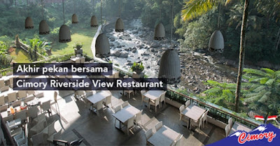 berakhir pekan bersama keluarga di cimory restoran puncak pemandangan alami ada sungai ciliwung bersih
