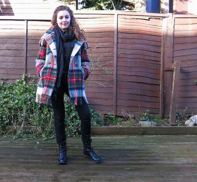tartan, second hand winter coat