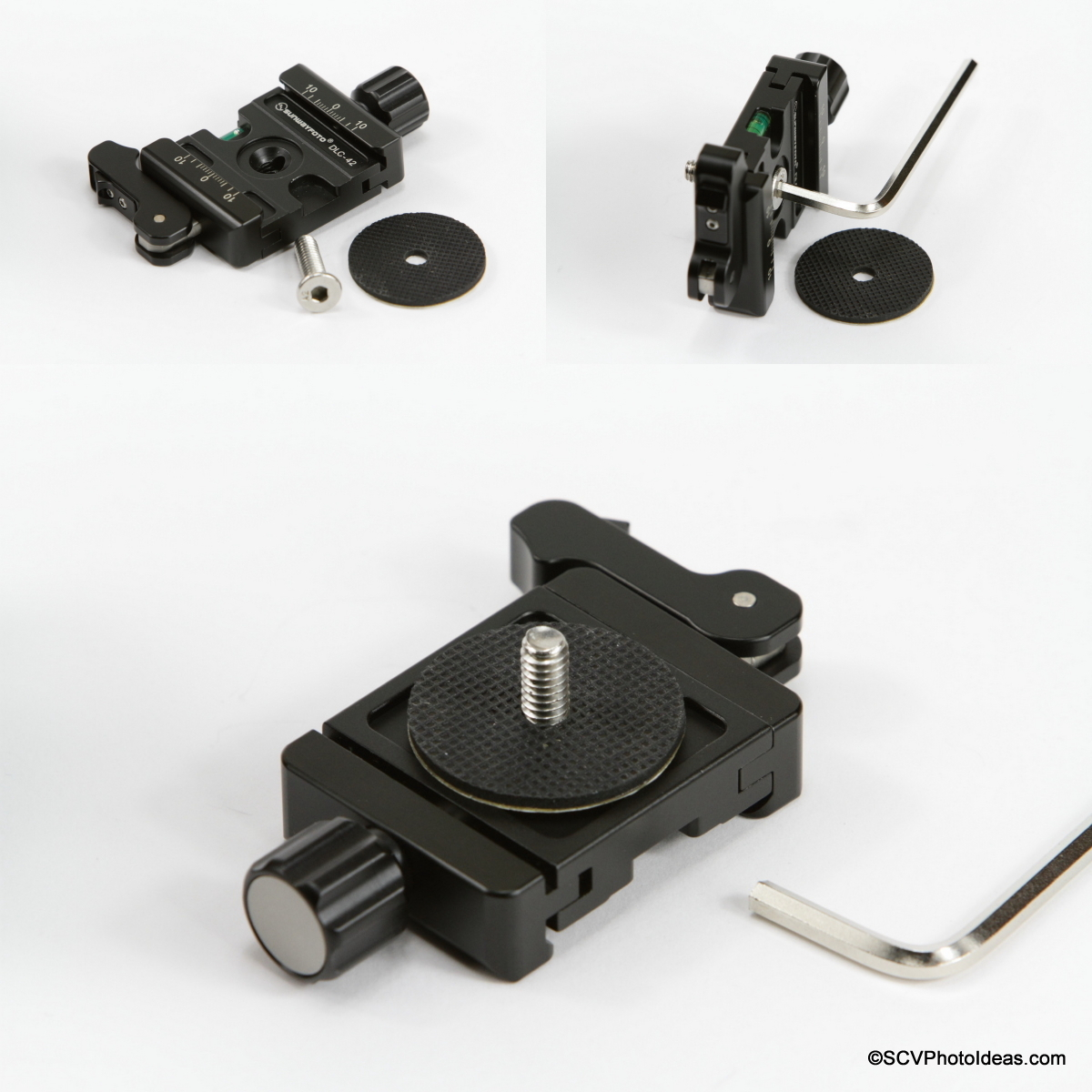 "Preparation sequence of DLC-42 Duo clamp w/ 1/4"" screw and rubber washer"