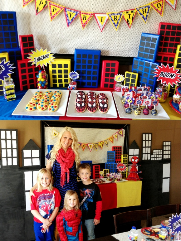 A SpiderMan hero Inspired 7th Birthday Party - via BirdsParty.com