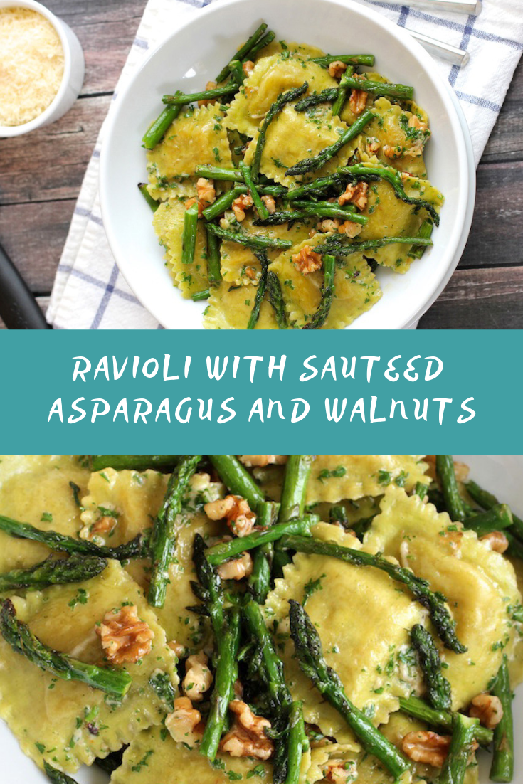 RAVIOLI WITH SAUTEED ASPARAGUS AND WALNUTS RECIPE