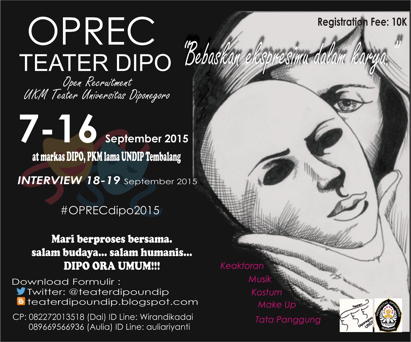Open Recruitment Ukm Teater Diponegoro Oprec Dipo 2015 Teater
