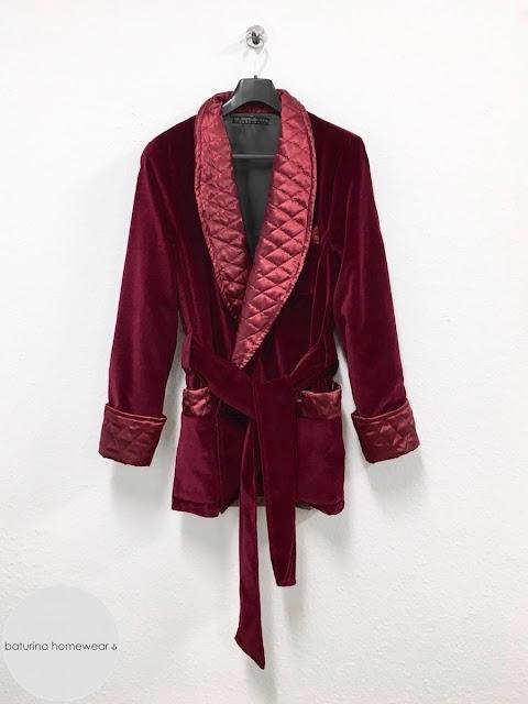 Men's smoking jacket velvet robe burgundy quilted silk maroon dressing gown warm