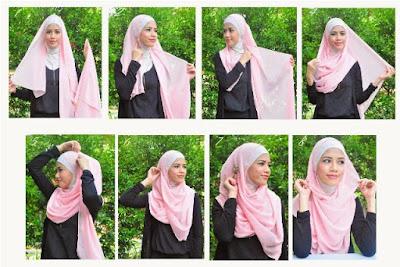 gambar tutorial hijab modern syari