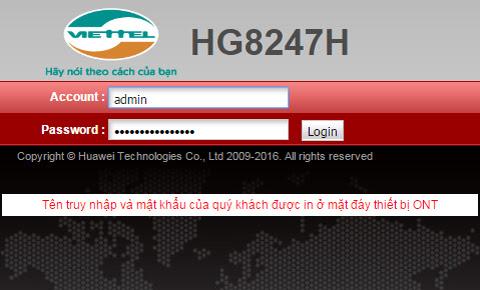 Đổi mật khẩu wifi Viettel với modem Huawei