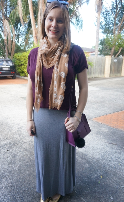 AwayFromBlue | burgundy tee and purple bag grey marle maxi skirt autumn outfit