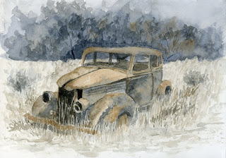 watercolor painting automotive abandoned ford sedan 1936