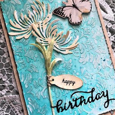 Sara Emily Barker https://sarascloset1.blogspot.com/ Quick and Easy Mixed Media Birthday Card Sizzix Tim Holtz Wildflower Stems 3