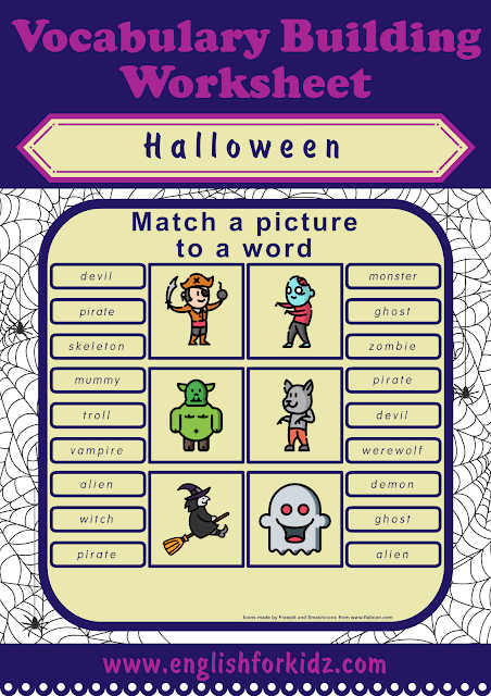 Halloween worksheets to learn the holiday vocabulary for ESL students