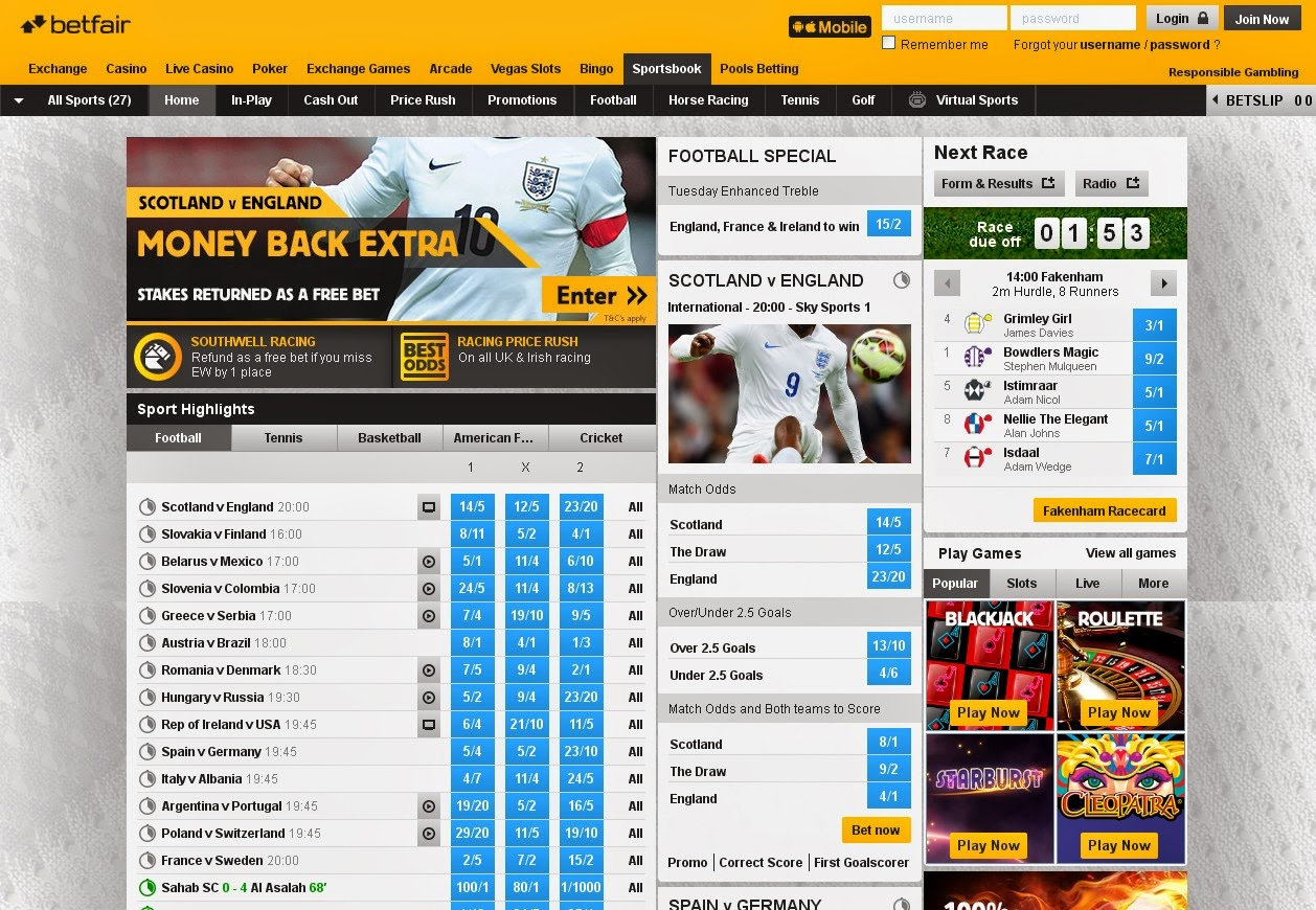 Betfair Screen