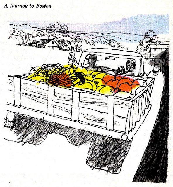 Ward Brackett illustration 1960s pumpkin truck