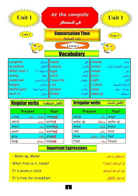 مذكرة لغة انجليزية للصف الخامس الابتدائى ترم اول time for english
