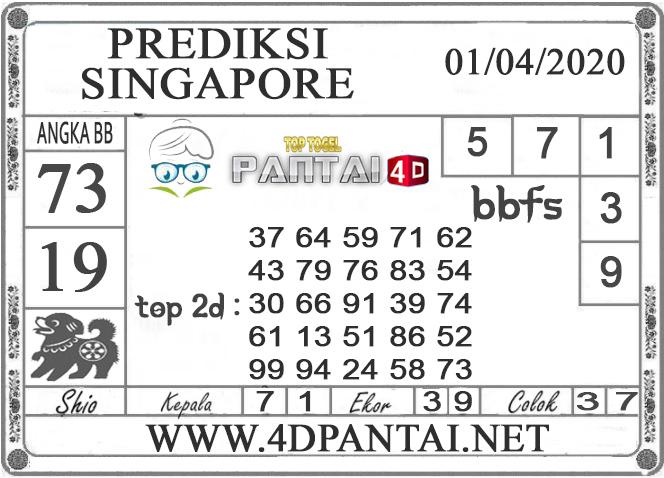 PREDIKSI TOGEL SINGAPORE PANTAI4D 01 APRIL 2020