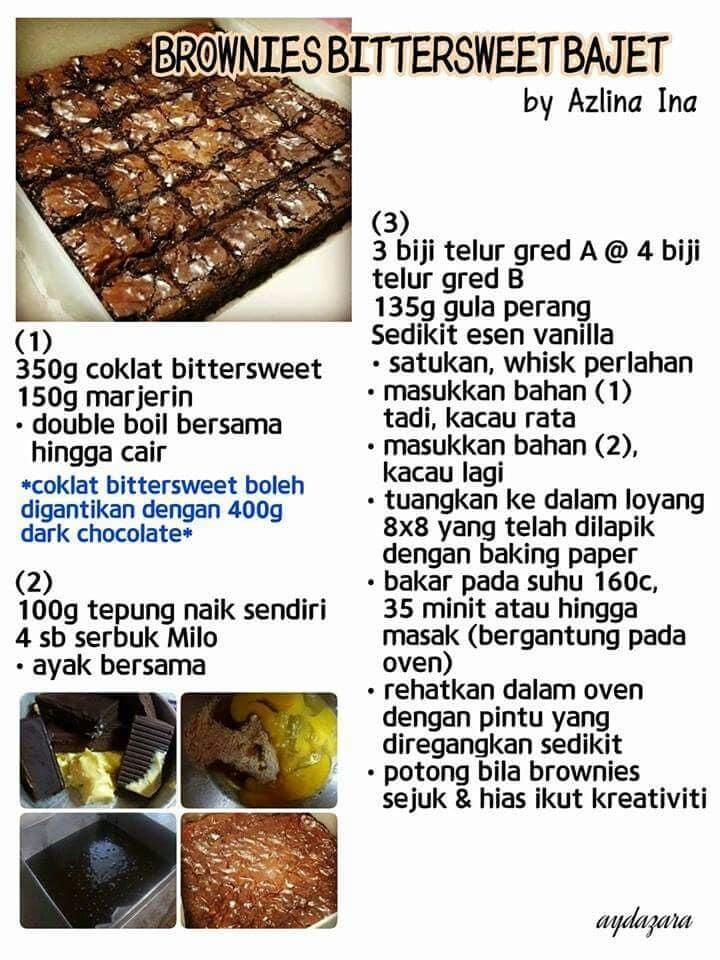 resepi kek brownies bajet