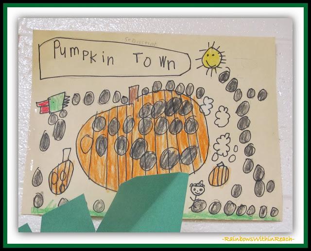 Pumpkin Town Kindergarten Drawing via RainbowsWithinReach