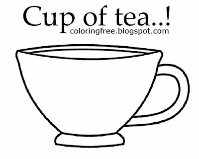 Simple kids sketch with statements hot drink to colour online free cup of green tea colouring pages