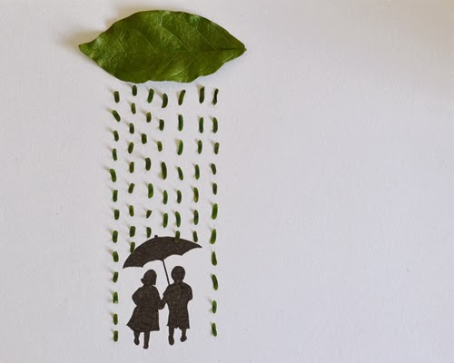 07-Couple-in-the-Rain-Freelance-Illustrator-Tang-Chiew-Ling-Art-with-Leaves-www-designstack-co