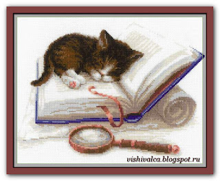 Скачать схему вышивки 1725 «Котенок на книжке» Riolis