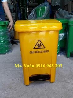 Thùng rác màu vàng 20 lít đạp chân theo tt 58